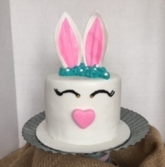 "6"" 4 layer chocolate and vanilla buttercream bunny"