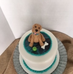 "6"" 4 layer chocolate and vanilla buttercream puppy"