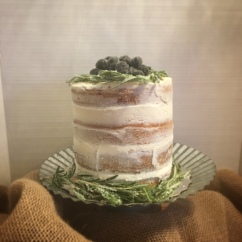 """6"""" 4 layer bare cake-lemon cake with lemon buttercream and blueberry compote"""